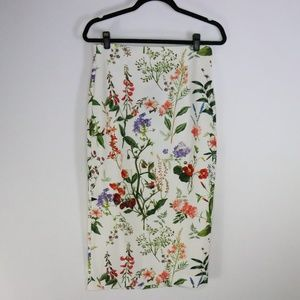 NWT Zara High Waist Floral Print Pencil Skirt
